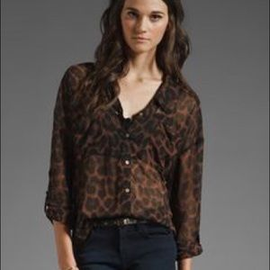 Free People Easy Rider Leopard Blouse size Small